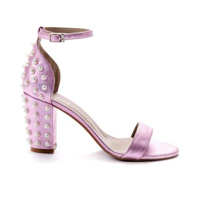 sandale roz cu perle